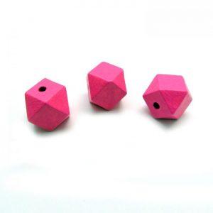 Pink hexagon bead - 3 views