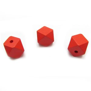 Red hexagon bead - 3 views