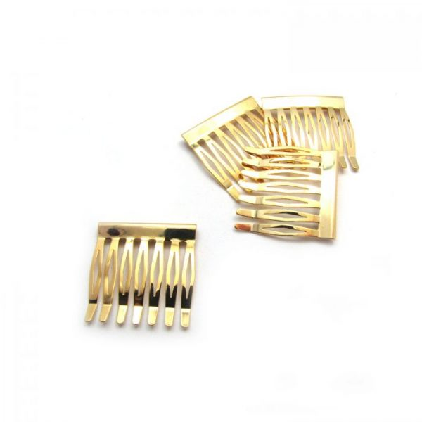 metal hair comb - 7 tooth - gold