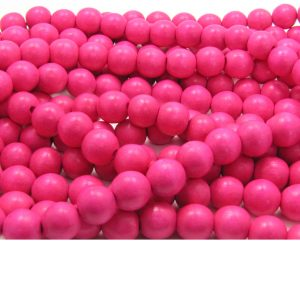 dark pink - coloured wood smooth rounds