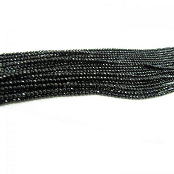 black spinel 3mm rondelles faceted bundle