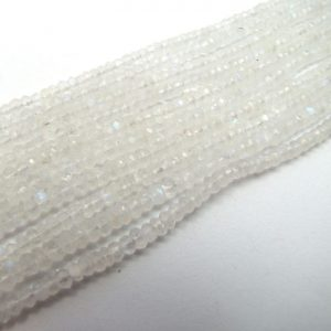rainbow moonstone 4mm micro faceted rondelles bundle of strands
