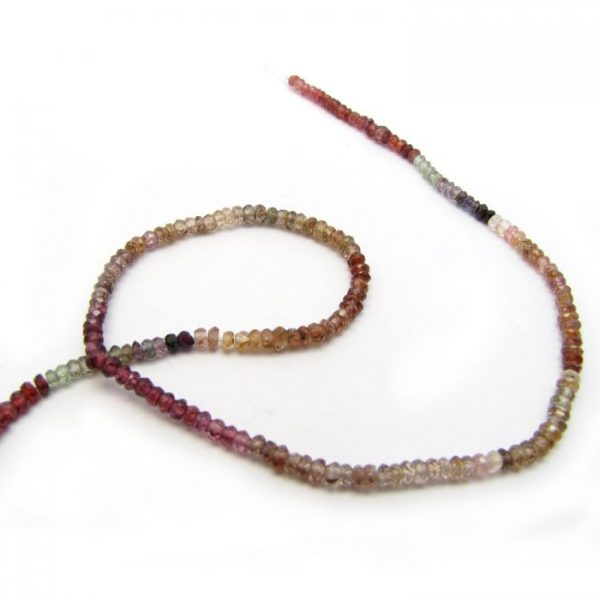 tundra garnet 3mm micro faceted rondelle single strand close up