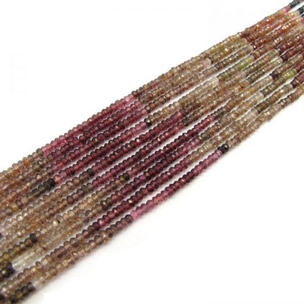 tundra garnet 3mm micro faceted rondelles bundle of strands on an angle
