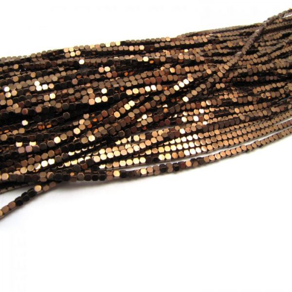 2mm coated hematite faceted nuggets - bronze