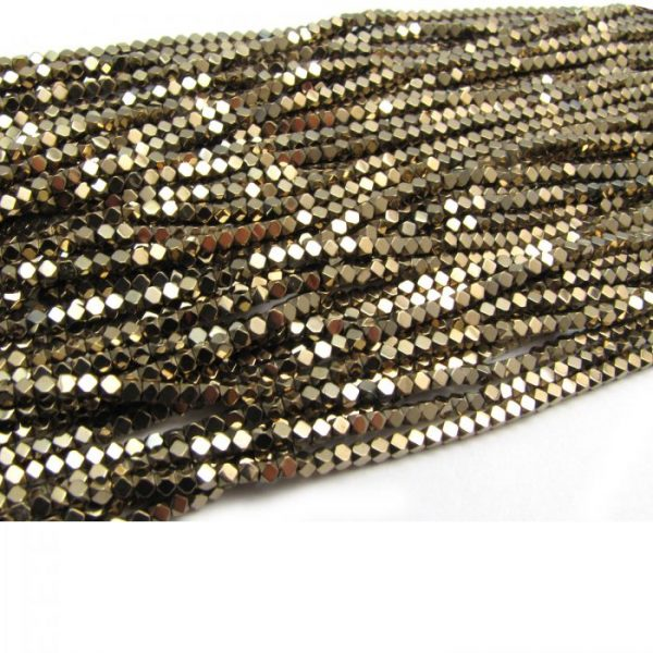 2mm coated hematite faceted nuggets - gold