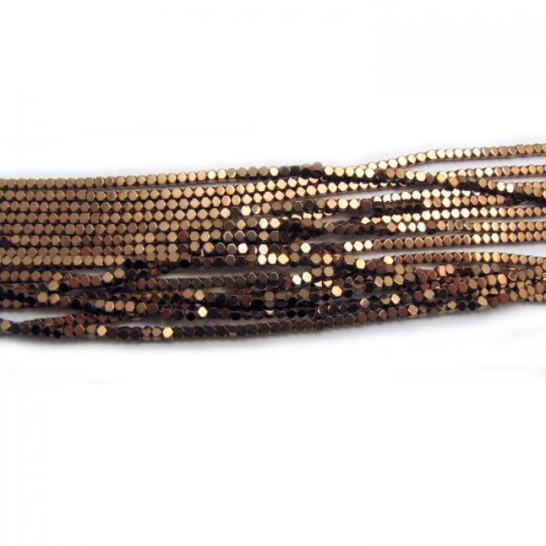 2mm coated hematite faceted nuggets - light bronze