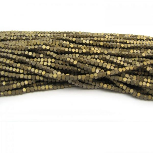2mm coated hematite faceted nuggets - matte gold