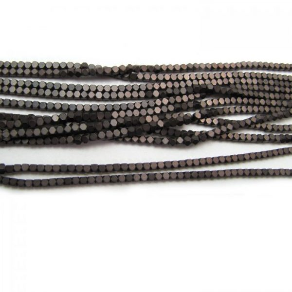2mm coated hematite faceted nuggets - matte warm grey