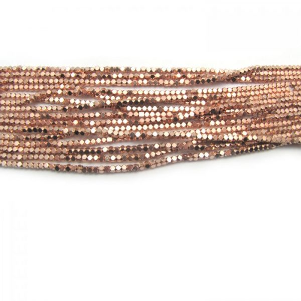2mm coated hematite faceted nuggets - rose gold
