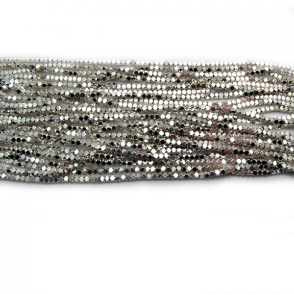 2mm coated hematite faceted nuggets - silver