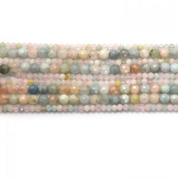 Morganite strand faceted round stones group image