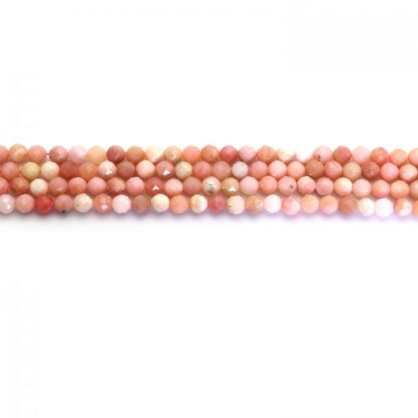 Pink puruvian opal 6mm strand faceded round stones