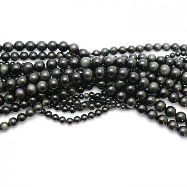 Rainbow obsidian smooth round strands group photo