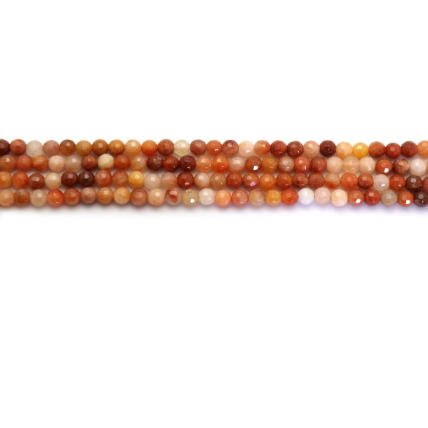 Red jade strand 6mm faceded stones