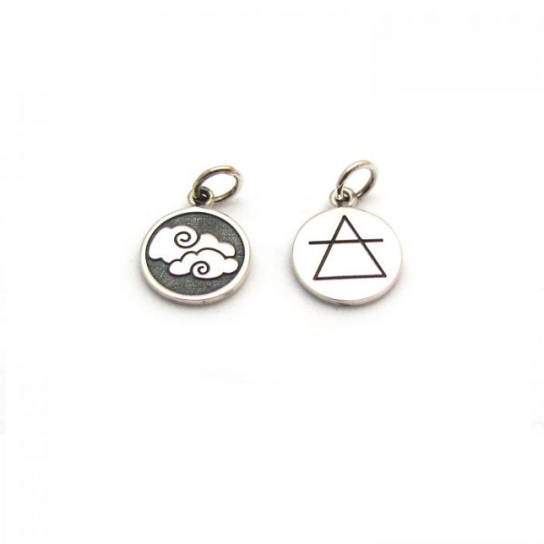 air element tag front and back charms sterling silver