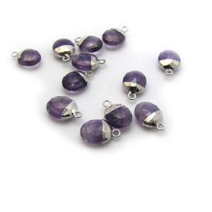 amethyst sweet pea stone charm sterling silver
