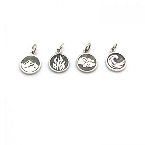 earth fire air water element tag charms sterling silver