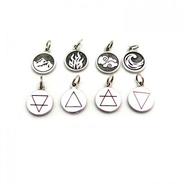 earth fire air water element tag front and back charms sterling silver