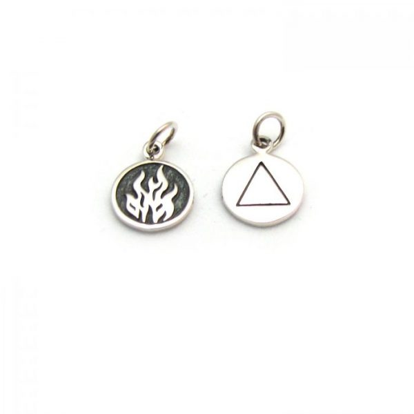 fire element tag front and back charms sterling silver