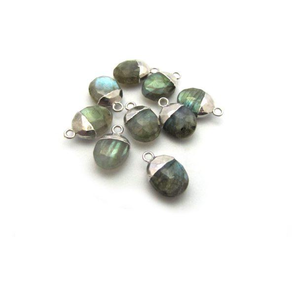labradorite sweet pea stone charm sterling silver