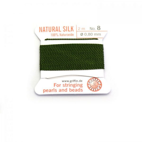 olive green silk cord with needle