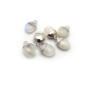 rainbow moonstone sweet pea stone charm sterling silver