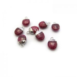 ruby sweet pea stone charm sterling silver