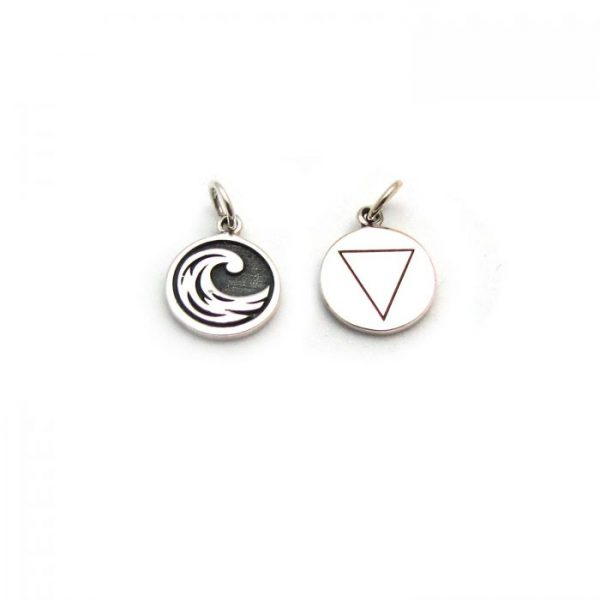 water element tag front and back charms sterling silver
