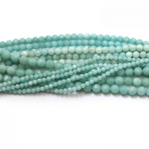 Amazonite faceted strand round stones group image