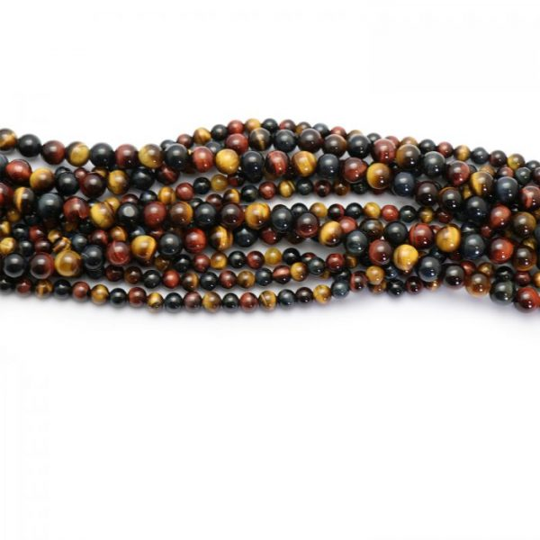 Multi Color tiger eye smooth round strands group photo