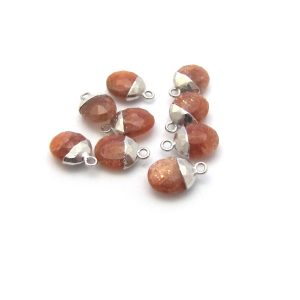 sunstone sweet pea stone charm sterling silver