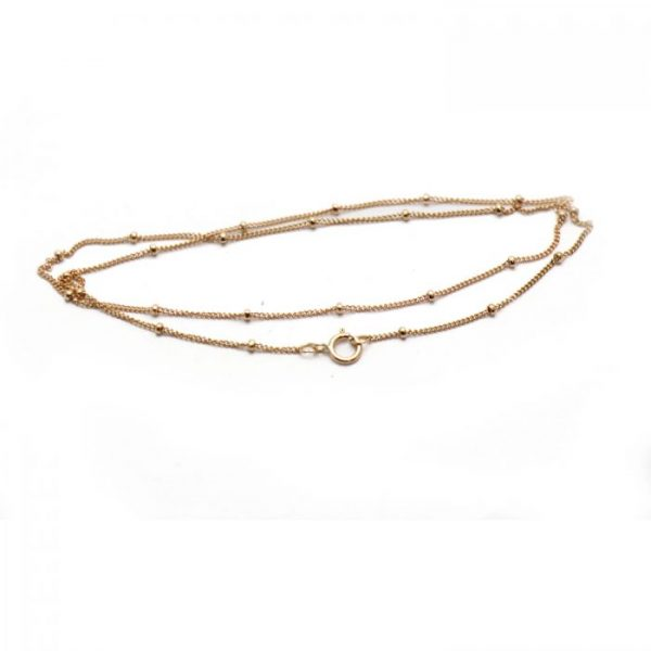 #14 Satellite curb chain rose gold fill front view