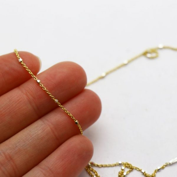 #17 Satellite oval chain Gold fill size view