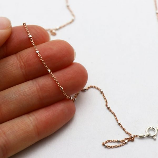 #17 Satellite oval chain rose gold fill size view