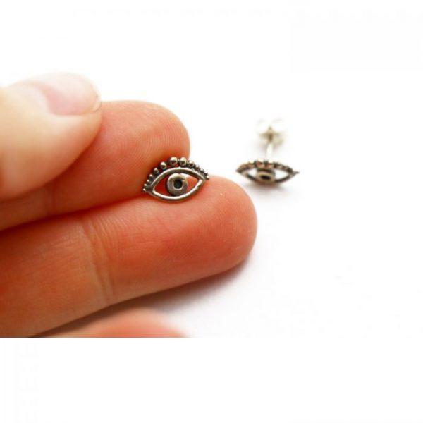Sterling Silver Earring studs - Eye showing scale. 10mm x 7mm