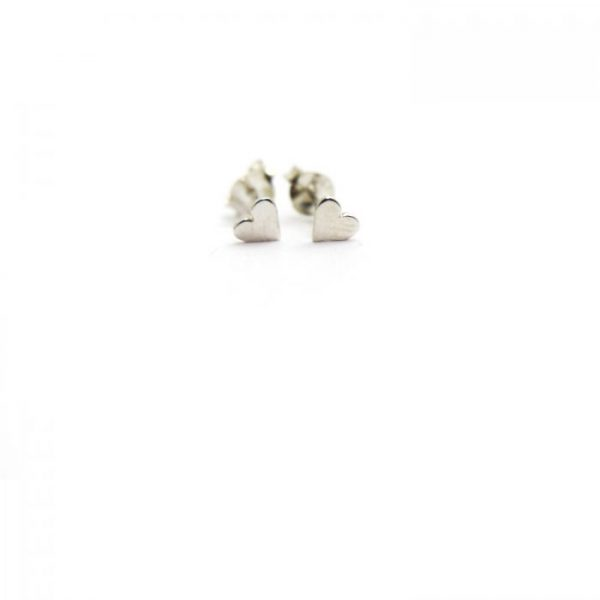 Sterling Silver Earring studs - Heart front view