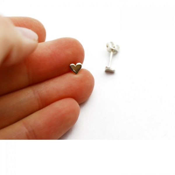 Sterling Silver Earring studs - Heart showing scale. 4.5mm x 5mm
