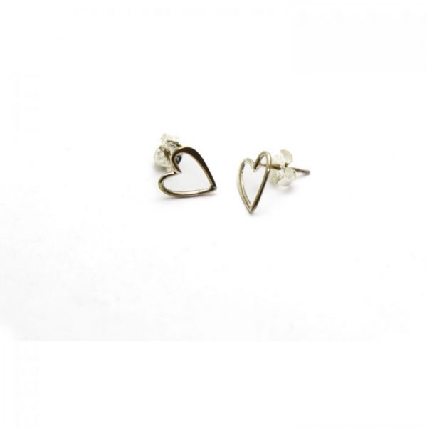Sterling Silver Earring studs - Outline heart