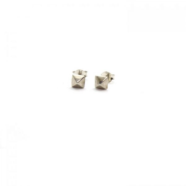 Pyramid sterling silver studs front view