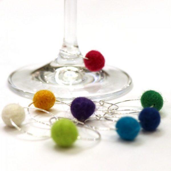 wine charm hoops example on wine glass base metal