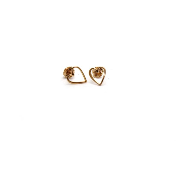 Rose gold vermeil heart outline studs front view