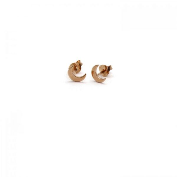 Rose gold vermeil moon studs front view
