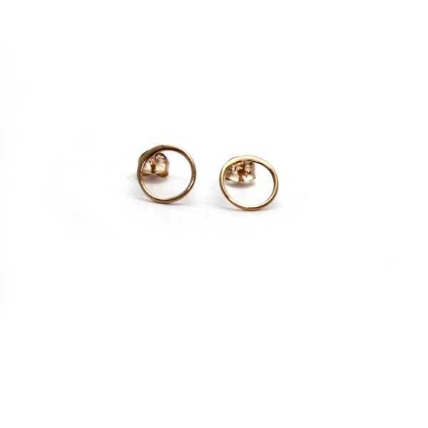Rose gold vermeil open circle studs front view