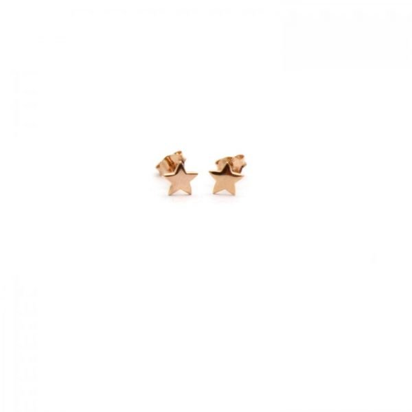 Rose gold vermeil star studs front view