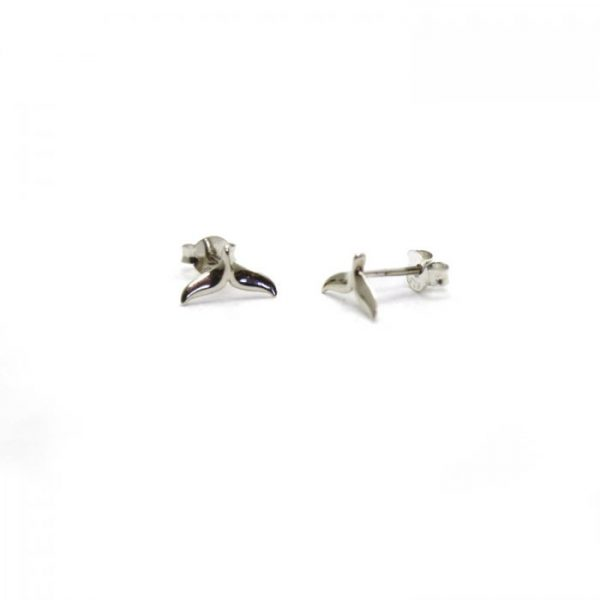 Whale tail sterling silver studs side view