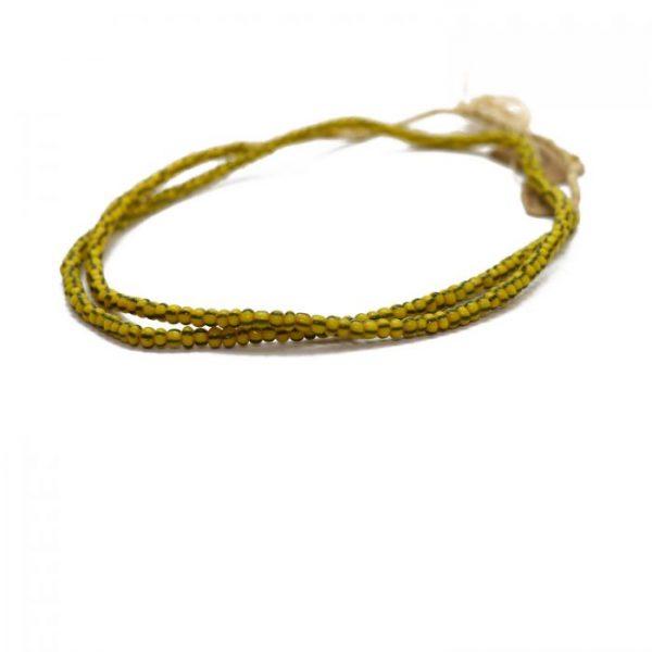 Chevron - Trade Beads yellow and khaki green - strand 2 side view