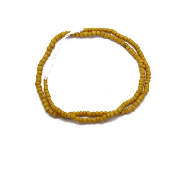 #15 Mustard yellow Indonesian glass beads – top view