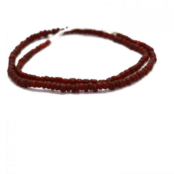 #16 Dark red Indonesian glass beads - side view
