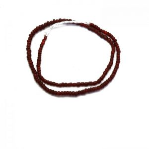 #16 Dark red Indonesian glass beads - top view